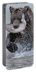 Brown Bear With Salmon Catch Portable Battery Charger