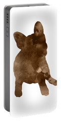 Brown Silhouette Of A Frenchie Sitting On The Right Hip Portable Battery Charger