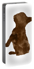 Brown Silhouette Of A Frenchie Sitting Pretty Portable Battery Charger