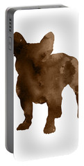 Brown Silhouette Of A Frenchie Standing Facing Left  Portable Battery Charger