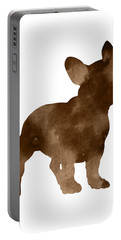 Brown Silhouette Of A Frenchie Standing Facing Right Portable Battery Charger