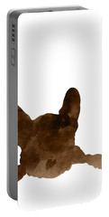 Brown Silhouette Of A Frenchie's Face And Front Paws  Portable Battery Charger