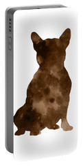 Brown Silhouette Of A Sitting Frenchie Portable Battery Charger