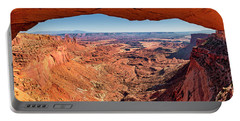 Portable Battery Charger featuring the photograph Buck Canyon Through Mesa Arch by Andy Crawford