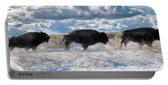 Portable Battery Charger featuring the photograph Buffalo Charge.  Bison Running, Ground Shaking When They Trampled Through Arsenal Wildlife Refuge by OLena Art Brand