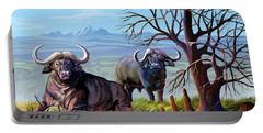Buffaloes And The Mountain Portable Battery Charger
