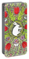 Bunny Nest With Red Flowers And White Butterflies Portable Battery Charger