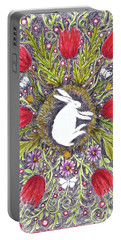 Bunny Nest With Red Flowers Variation Portable Battery Charger