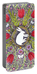 Portable Battery Charger featuring the mixed media Bunny Nest With Red Flowers Variation by Lise Winne