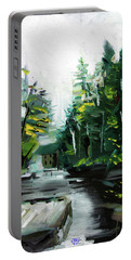 Portable Battery Charger featuring the painting Burton Dock by John Jr Gholson