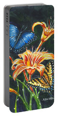 Butterflies And Flowers Sketch Portable Battery Charger