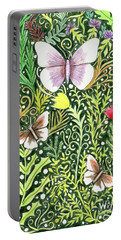Butterflies In The Millefleurs Portable Battery Charger