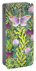 Portable Battery Charger featuring the painting Butterfly In The Millefleurs by Lise Winne