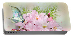 Butterfly On Cherry Blossom Portable Battery Charger