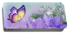Butterfly On Clematis Portable Battery Charger