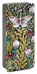 Butterfly Tapestry Design In Mustard, Red And Green Portable Battery Charger
