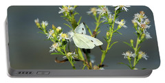 Cabbage White Butterfly On Flowers Portable Battery Charger