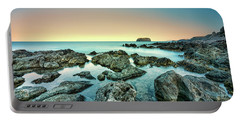 Calm Rocky Coast In Greece Portable Battery Charger