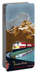 Portable Battery Charger featuring the painting Canadian Pacific Rail Vintage Travel Poster by Sassan Filsoof