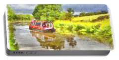 Canal Boat On The Leeds To Liverpool Canal Portable Battery Charger