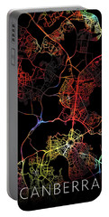 Canberra Australia City Street Map Watercolor Dark Mode Portable Battery Charger