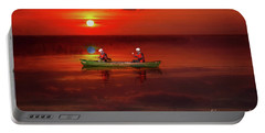 Canoe At Sunset Portable Battery Charger