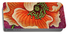 Portable Battery Charger featuring the painting Cantaloupe Countenance by Amy E Fraser