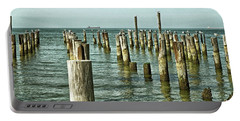 Portable Battery Charger featuring the photograph Casino Pilings At Cape Charles Virginia by Bill Swartwout Fine Art Photography