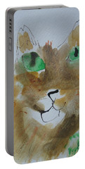 Portable Battery Charger featuring the drawing Cat Face Yellow Brown With Green Eyes by AJ Brown