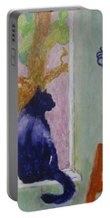 Portable Battery Charger featuring the painting cat named Seamus by AJ Brown