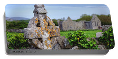 Celtic Cross At Kilmacduagh Monastery  Portable Battery Charger