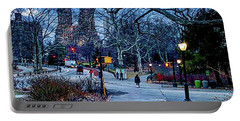 Central Park At Night, New York, New York Portable Battery Charger