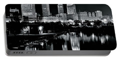 Charcoal Night View Of Cleveland Portable Battery Charger