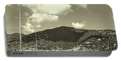 Charlotte Amalie Harbor In Sepia Portable Battery Charger