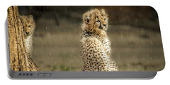 Cheetah Cubs And Rain 0168 Portable Battery Charger