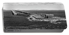 Portable Battery Charger featuring the photograph Chesapeake Bay Bridge Tunnel E S V A Black And White by Bill Swartwout Fine Art Photography