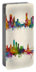 Chicago And New York City Skylines Portable Battery Charger