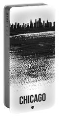 Chicago Skyline Brush Stroke Black Portable Battery Charger