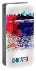 Chicago Skyline Brush Stroke Watercolor  Portable Battery Charger