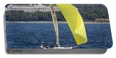 Chicago To Mackinac Yacht Race Sailboat With Grand Hotel Portable Battery Charger