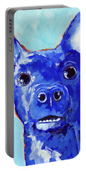 Chihuahua Puppy Dog Portrait Blue Portable Battery Charger