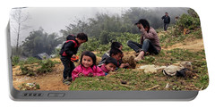 Children At Play - Sapa, Vietnam Portable Battery Charger