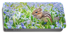 Chipmunk On Flowers Portable Battery Charger