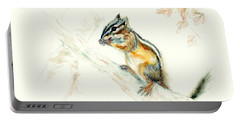 Portable Battery Charger featuring the painting Chipmunk by Philip and Karen Rispin