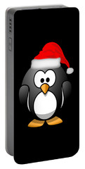 Portable Battery Charger featuring the digital art Christmas Santa Penguin by Flippin Sweet Gear