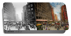 Portable Battery Charger featuring the photograph City - Chicago Il - Marshall Fields Company 1911 - Side By Side by Mike Savad