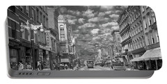 Portable Battery Charger featuring the photograph City - Ny - Main Street Poughkeepsie, Ny - 1906 - Black And White by Mike Savad