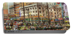 Portable Battery Charger featuring the photograph City - San Diego Ca - A Busy Street Corner 1941 by Mike Savad