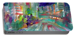 Portable Battery Charger featuring the painting Cityscape 3 by Dobrotsvet Art