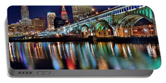 Cleveland Ohio Skyline Reflects Colorfully Portable Battery Charger